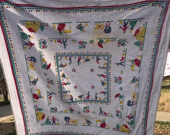Vintage White with Red, Yellow, Blue and Green Farm and Flowers Print Tablecloth