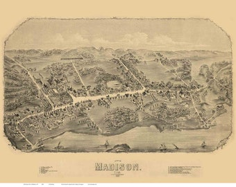 Madison Connecticut 1881 Birds Eye View CT Reprint