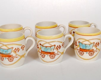 Vintage Covered Wagon Fred Roberts Co. Dishware Set of Mugs