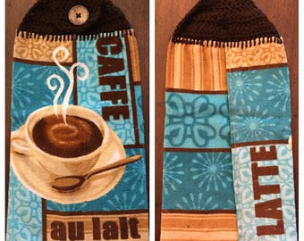 Kitchen Towel With Crochet Top - Blue and Brown Coffee