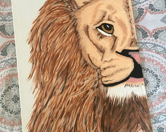 Handmade Lion Canvas Painting Wall Art