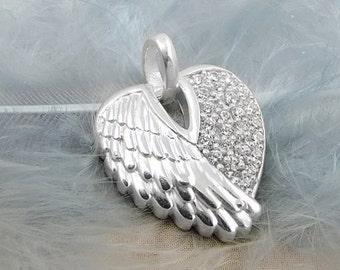 Angel wings pendant zirconia, silver 925