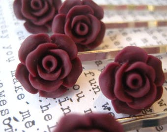 Burgundy Bobby Pins, 5 Deep Red Flower Hair Pins, Rose Hair Accessory, Bridal Hair Accessory, Flower Girl, Small Gift, Gift for Women
