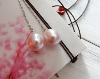 SALE Pearl Chain Earrings, Silver, Long Earring, Soft Mauve, Teardrop, Threader Earrings