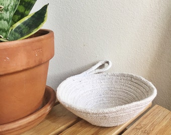mini cotton natural rope bowl // undyed // ring dish // 100% cotton
