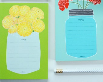Yellow Flowers Notepad, Flower To Do List, Grocery List, Market List, Gifts for Paper Lovers, Note Taking Pad, Memo List Pad