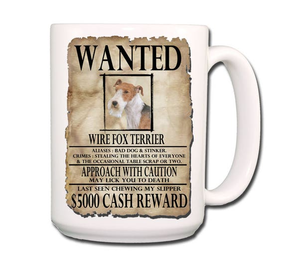 Wire Fox Terrier Wanted Poster Large 15 oz Coffee Mug