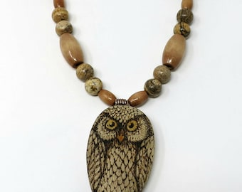 Owl Necklace, Pyrography Art, Wooden and Stone Bead Necklace, Wearable Art Necklace, Earthy Colors, OOAK, Mother's Day Gift Idea