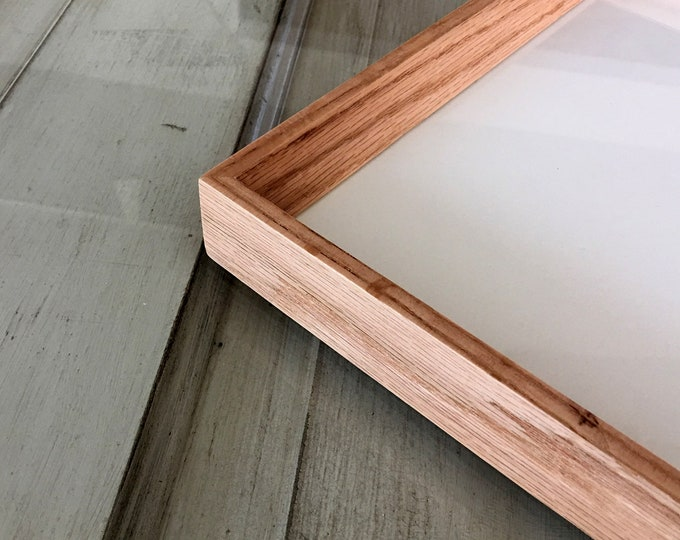 """Natural Solid Oak Frame in Park Slope style - Choose your frame size: 3x3 up to A3 (11.7x16.5"""") - FREE SHIPPING - Solid Hardwood Oak Frames"""