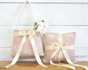 Wedding Flower Girl Basket and Ring Bearer Pillow - Blush Lace Flower Girl Basket and Ring Bearer Pillow Set, Wedding Set, Blush Lace