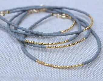 Gold Beaded Bracelet - Grey and Gold Bracelet - Fall Colours Bracelet - Gold Vermeil Bracelet - Karen Hill Tribe Silver Beads Bracelet