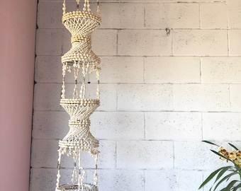 Vinatge shell chandelier 4Foot +, shell plant hanger extra large shell chandelier, lighting, shells, 1970's shell wall hanging, bohemian