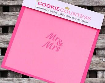 Mr & Mrs Oreo Stencil, Small Wedding Cookie Stencil, Sugar Cookie Stencil, Fondant Stencil, Cookie Countess Cookie Stencil, Wedding Stencil