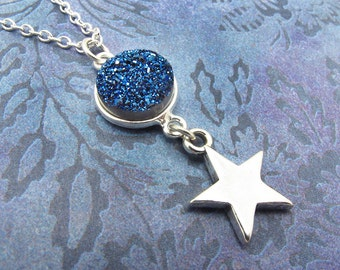 druzy necklace, blue druzy necklace, druzy star necklace, druzy jewelry, drusy necklace, silver star necklace, gift for her, indigo blue