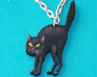 LAST ONE! Spooky Retro Black Cat Pendant Necklace