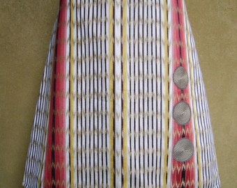 Fake Ikat skirt, upholstery fabric and appliqué, A-line skirt, cotton, fully lined, upcycle, off white yellow coral, size Large