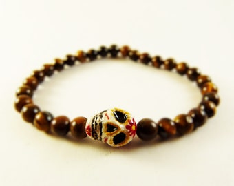 Colored skull bracelet with tiger's eye - natural stone bracelet - boho jewels -  handmade bracelet -frida kahlo - dia de los muertos