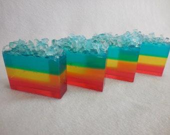 Rainbow SOAP LOAF - Rainbow Soap Favors - Rainbow Party Favors - Watermelon Soap - Blue Raspberry Slushie Soap - Fruity Pool Party Favors