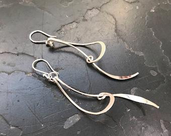 Long Curved Bar Drop Earrings - Drop Earrings - Sterling Silver Earrings - Silver Drop Earrings - Curved Bar Earrings