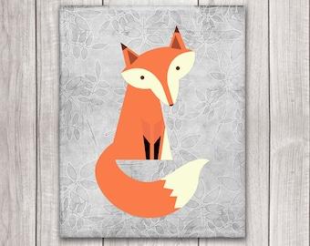 Fox Nursery Decor - 8x10 Fox Art Printable, Nursery Art, Nursery Decor, Woodland Animals, Nursery Wall Decor