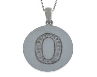 Initial Letter O Pendant .925 Sterling Silver Rhodium Finish