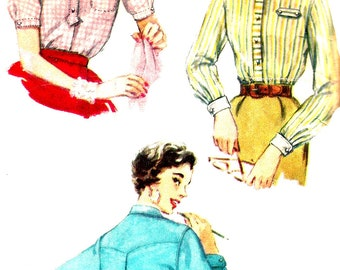 1950s Blouse Pattern Yoked Pleated Back Tab Top Vintage Simplicity Sewing Women's Misses Size 15 Bust 34 Inches