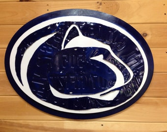 Penn State Nittany Lion Logo Artwork made from license plates