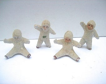4 Antique GERMAN Bisque SNOW BABIES Christmas Decoration Figures - 2 Seated and 2 Standing
