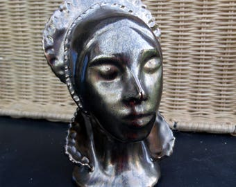 Vintage Queen Bust hand Sculpted - Bronze Patina painted