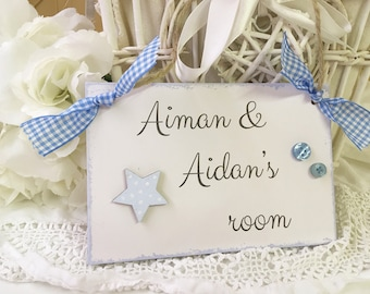 Blue Door Sign Personalised One Name or Two