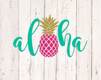 Aloha Decal, Aloha Pineapple Sticker, Aloha Pineapple Decal, Car Decal, Hawaii Sticker, Laptop Decal, Vinyl Yeti Cup Decal