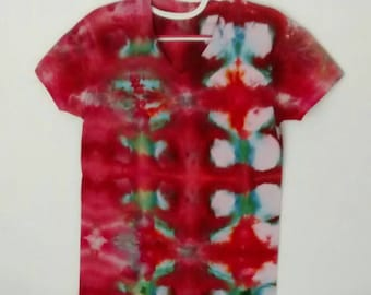 Ice Dyed Tee in Red and Green Aqua men's size Small