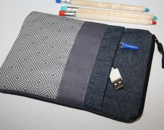Kindle ebook, e-book case, pocket gray, taupe, reader, jeans, ereader