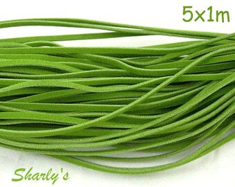 5 dangles of Apple green suede cords