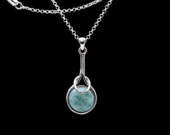 Larimar 10mm Pendant/Necklace .925 Sterling Silver. (Limited Time Promotion)