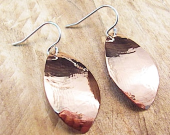 Copper earrings with Sterling silver ear wires