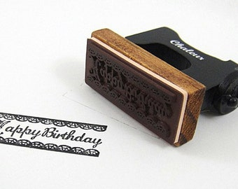 Stamp of happy birthday with border
