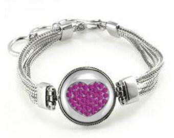 Bracelet With Pink Rhinestone Heart - Fuchsia Bracelet - Valentine's Day Bracelet - Heart Bracelet - Valentine's Day Gift