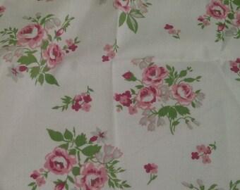 Vintage Sheet Fat Quarter, Quilting Bundle, Baby Fabric, Pink Rose Fabric
