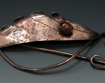 Copper Leaf Shawl Pin with Ladybug