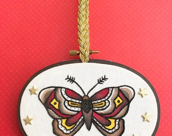 Traditional Tattoo Inspired Moth Embroidery Piece