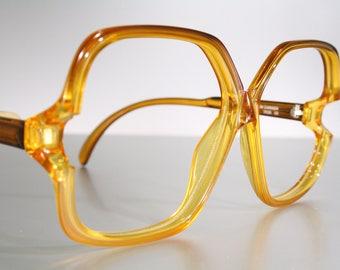 Unworn OPTYL 3506 Canadian True 1980's Honey Orange Amber Vintage Oversize Butterfly Eyeglass Frames NOS Old Stock New Unused Made in CANADA