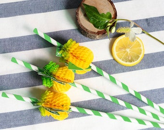 4 Pineapple straws, party decor, tropical party, pineapple, summer party, birthday party, wedding decor, party straw, drink straw, straws