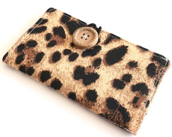Fabric Card Holder - Leopard Print