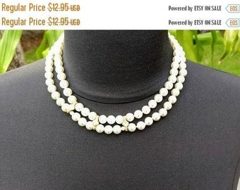 JUNE SALE 30% Off Double Strand Faux Pearl Necklace with Rhinestones..Statement!