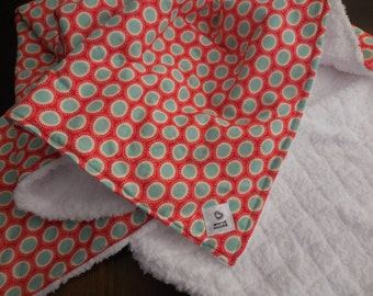 Baby Quilt Blanket - Minky Baby Security Blanket Blue Dots on Red