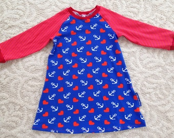 Handmade Raglan Dress, blue heart and anchor pattern, sleeves in red/orange/pink stripes, jersey knit, size 3T/Euro size 98cm