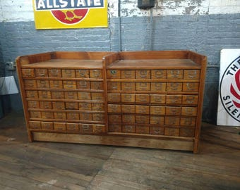 WC Heller Nut and Bolt Cabinet Counter Hardware Store Apothecary Primitive Jewelery Stones Shorting Bin