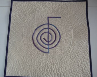 Quilted Reiki Wallhanging, Choku Rei Symbol in purple for Meditation