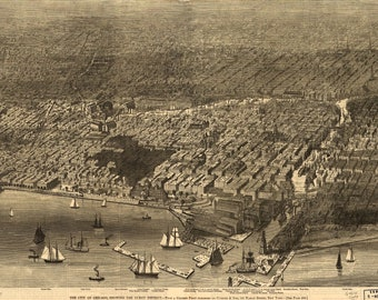 Bird's Eye View of Chicago, Burnt District (1871) Panoramic Gallery Wrapped Canvas Wall Art Print